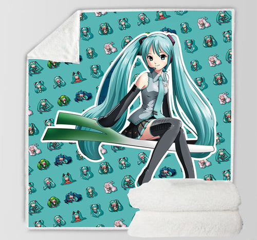 Hatsune Miku #25 Blanket Super Soft Cozy Sherpa Fleece Throw Blanket for Men Boys