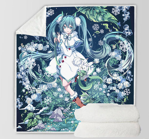 Hatsune Miku #16 Blanket Super Soft Cozy Sherpa Fleece Throw Blanket for Men Boys