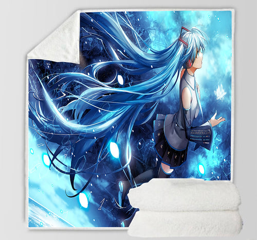 Hatsune Miku #18 Blanket Super Soft Cozy Sherpa Fleece Throw Blanket for Men Boys
