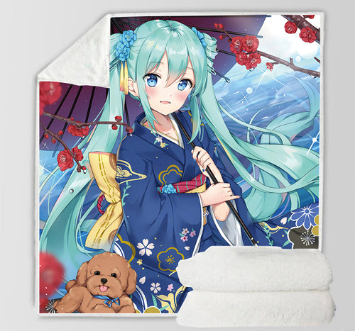 Hatsune Miku #27 Blanket Super Soft Cozy Sherpa Fleece Throw Blanket for Men Boys