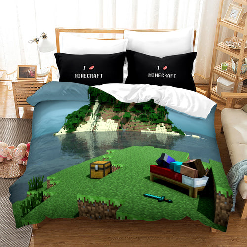 Minecraft #13 Duvet Cover Quilt Cover Pillowcase Bedding Set Bed Linen Home Bedroom Decor