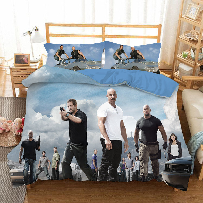 Fast & Furious #4 Duvet Cover Quilt Cover Pillowcase Bedding Set Bed Linen Home Bedroom Decor
