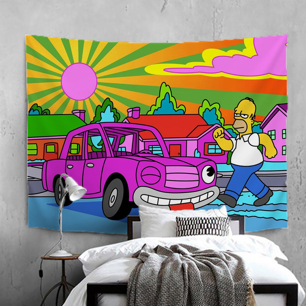Anime The Simpsons Homer J. Simpson #4 Wall Decor Hanging Tapestry Home Bedroom Living Room Decoration