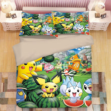 Load image into Gallery viewer, Cartoon Pikachu #5 Duvet Cover Quilt Cover Pillowcase Animation Bedding Set