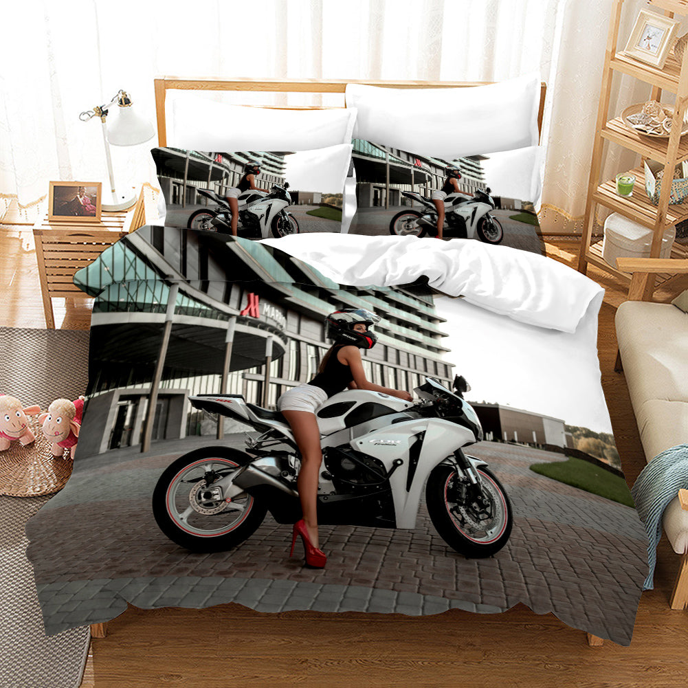 The Motorcycle Girl #5 Duvet Cover Quilt Cover Pillowcase Bedding Set Bed Linen Home Bedroom Decor
