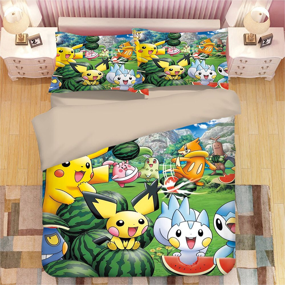Cartoon Pikachu #5 Duvet Cover Quilt Cover Pillowcase Animation Bedding Set
