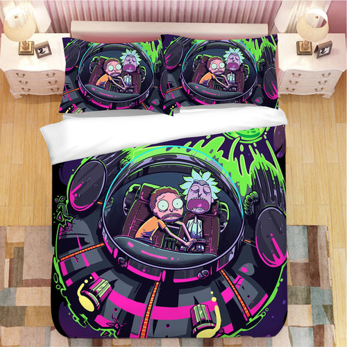 Rick and Morty #12 Duvet Cover Quilt Cover Pillowcase Bedding Set Bed Linen Home Bedroom Decor