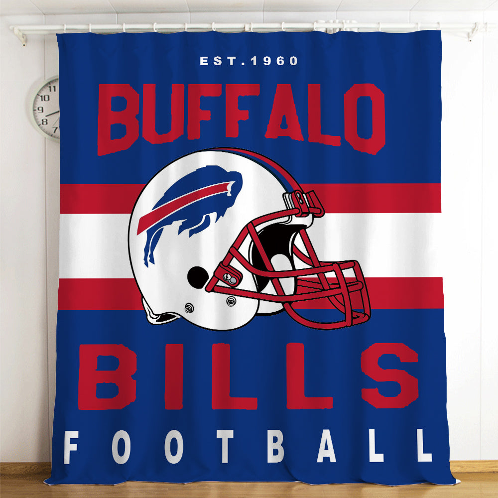 Bills NFL #6 Blackout Curtains For Window Treatment Set For Living Room Bedroom
