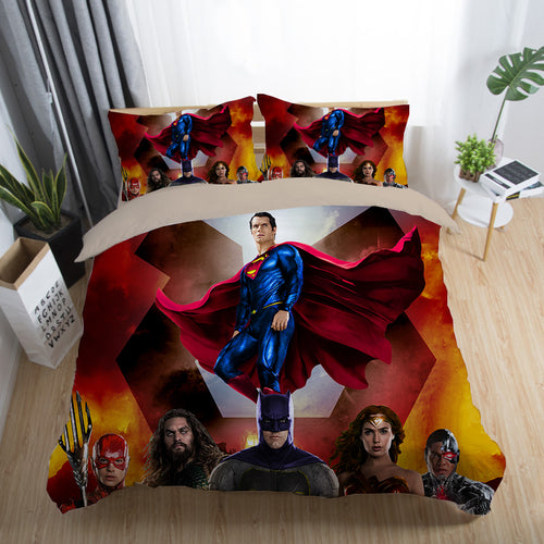 Justice League Wonder Woman Superman Batman The Flash Aquaman #6 Duvet Cover Quilt Cover Pillowcase Bedding Set Bed Linen Home Decor