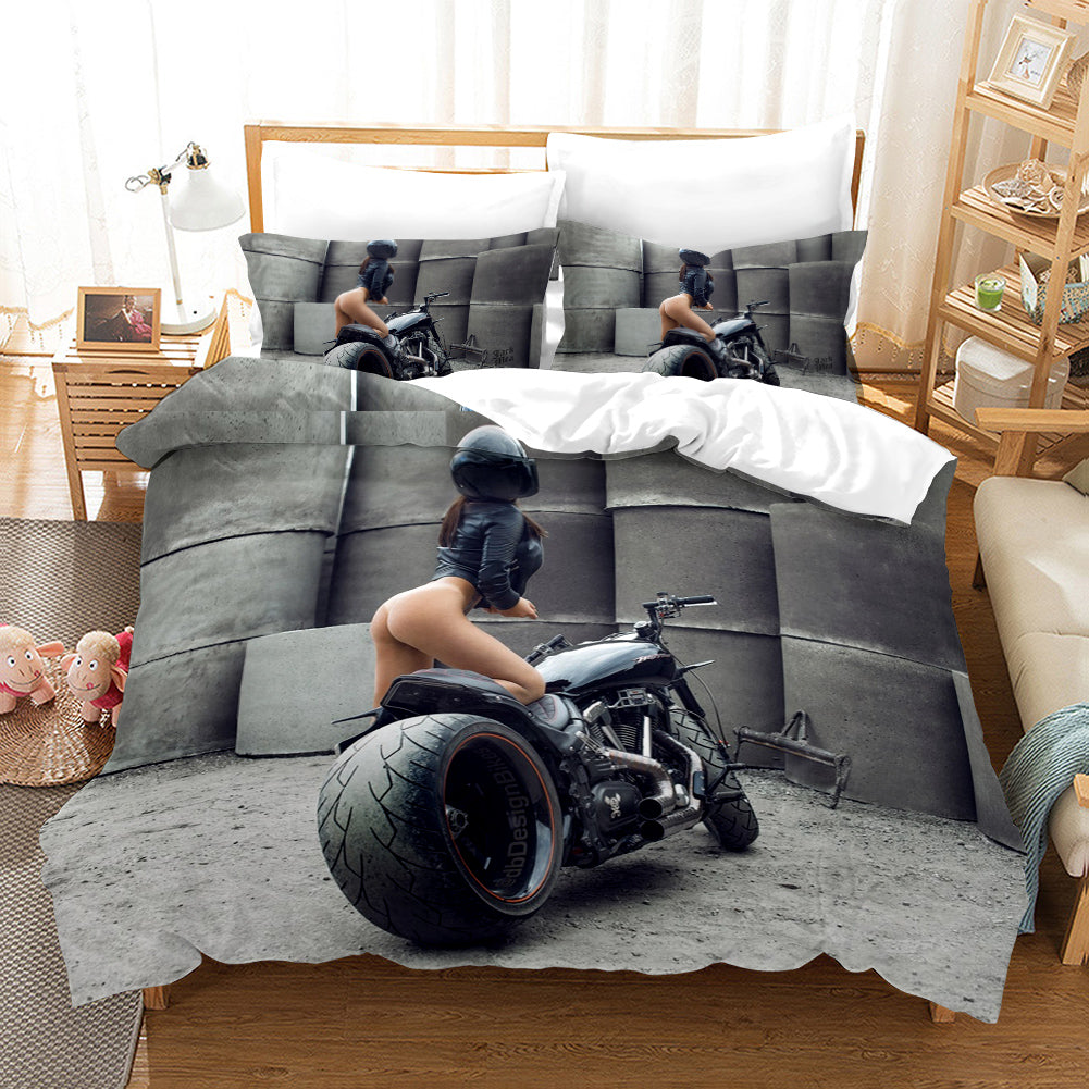 The Motorcycle Girl #6 Duvet Cover Quilt Cover Pillowcase Bedding Set Bed Linen Home Bedroom Decor
