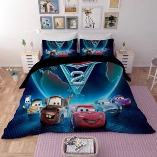 Movie Cars Lightning McQueen #1 Duvet Cover Quilt Cover Pillowcase Bedding Set