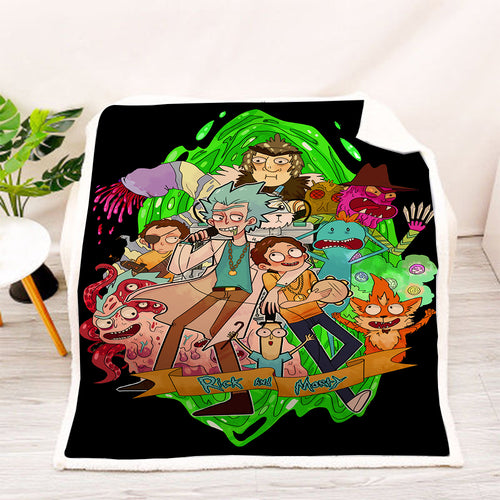 Rick and Morty #8 Blanket Super Soft Cozy Sherpa Fleece Throw Blanket for Men Boys