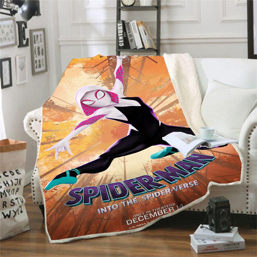 Spider-Man Into the Spider-Verse Miles Morales Gwen #10 Blanket Super Soft Cozy Sherpa Fleece Throw Blanket for Men Boys