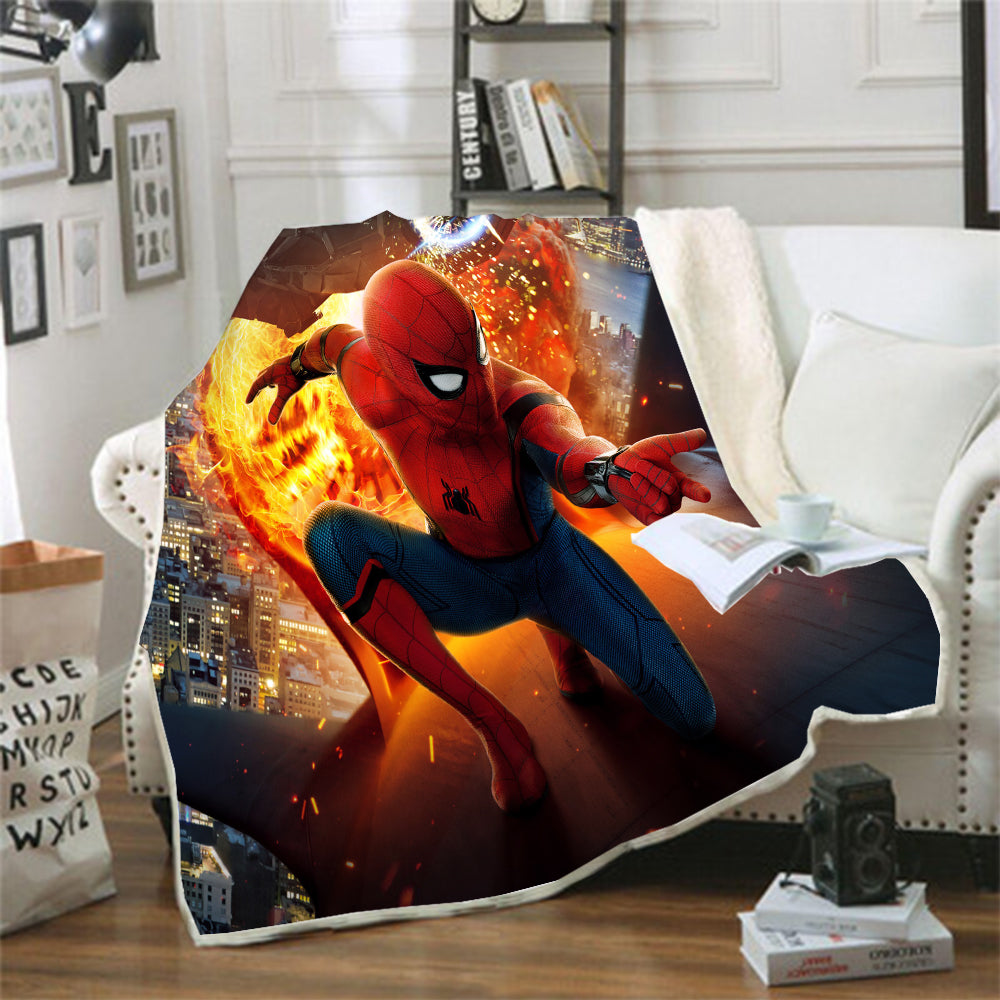 Spider-Man Into the Spider-Verse Miles Morales #4 Blanket Super Soft Cozy Sherpa Fleece Throw Blanket for Men Boys