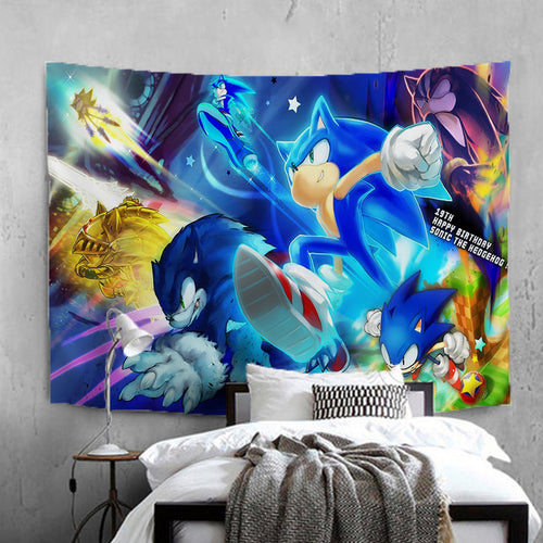Sonic The Hedgehog #9 Wall Decor Hanging Tapestry Home Bedroom Living Room Decorations