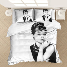 Load image into Gallery viewer, Audrey Hepburn #3 Duvet Cover Quilt Cover Pillowcase Bedding Set Bed Linen Home Bedroom Decor