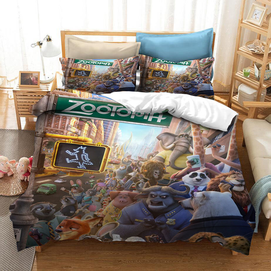 Zootopia Zootropolis Judy Nick #1 Duvet Cover Quilt Cover Pillowcase Bedding Set Bed Linen Home Bedroom Decor