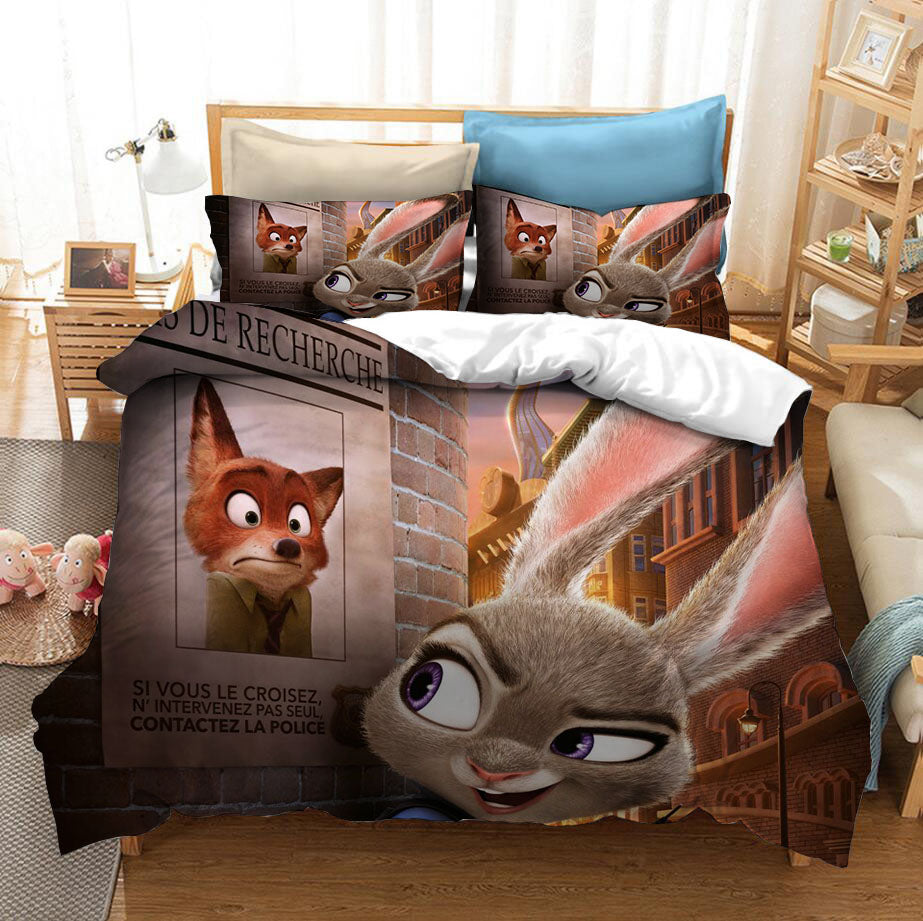 Zootopia Zootropolis Judy Nick #2 Duvet Cover Quilt Cover Pillowcase Bedding Set Bed Linen Home Bedroom Decor