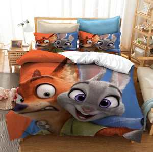 Zootopia Zootropolis Judy Nick #5 Duvet Cover Quilt Cover Pillowcase Bedding Set Bed Linen Home Bedroom Decor