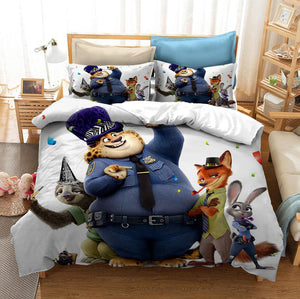 Zootopia Zootropolis Judy Nick #6 Duvet Cover Quilt Cover Pillowcase Bedding Set Bed Linen Home Bedroom Decor