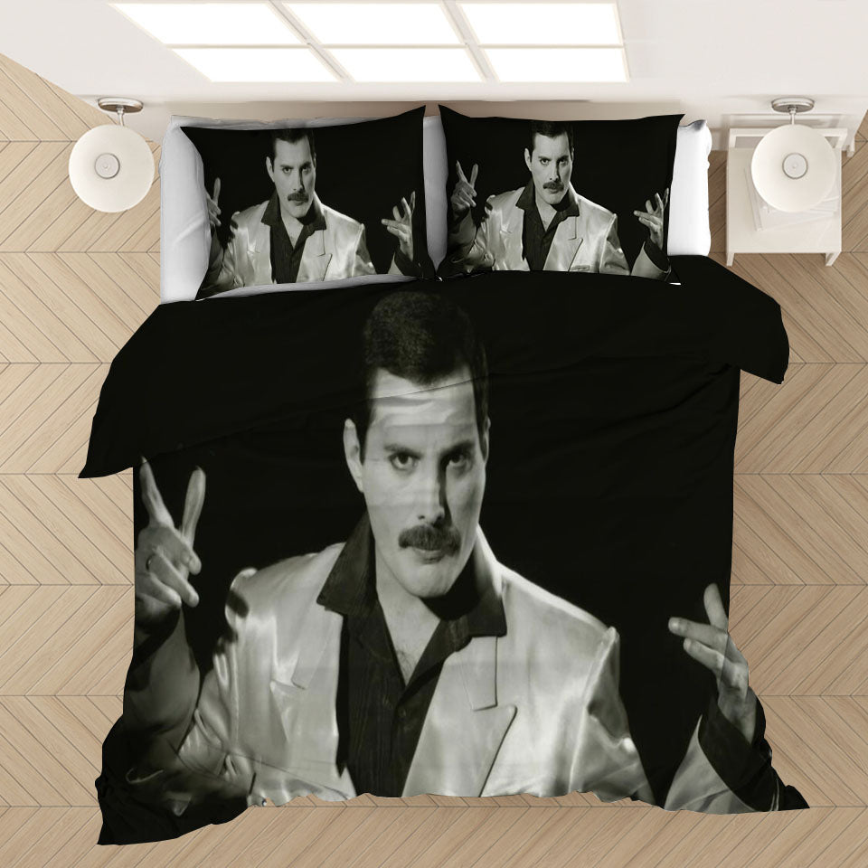Freddie Mercury The Queen Band #2 Duvet Cover Quilt Cover Pillowcase Bedding Set Bed Linen Home Bedroom Decor