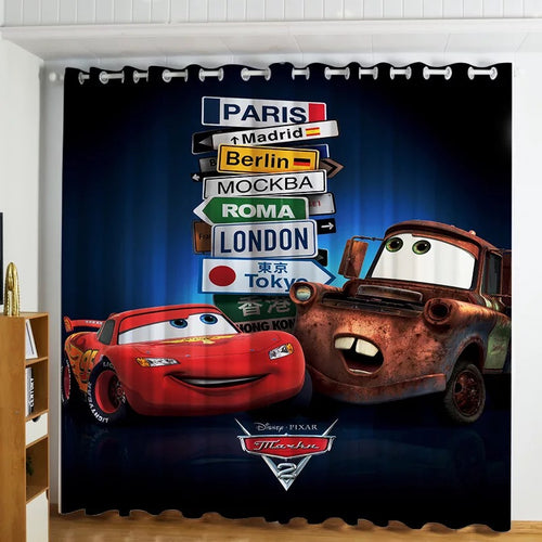 Movie Cars Lightning McQueen #2 Blackout Curtains For Window Treatment Set For Living Room Bedroom Decor