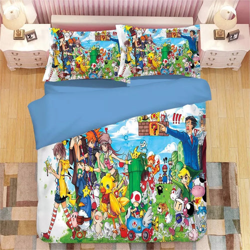 Super Mario Bros #6 Duvet Cover Quilt Cover Pillowcase Bedding Set Bed Linen