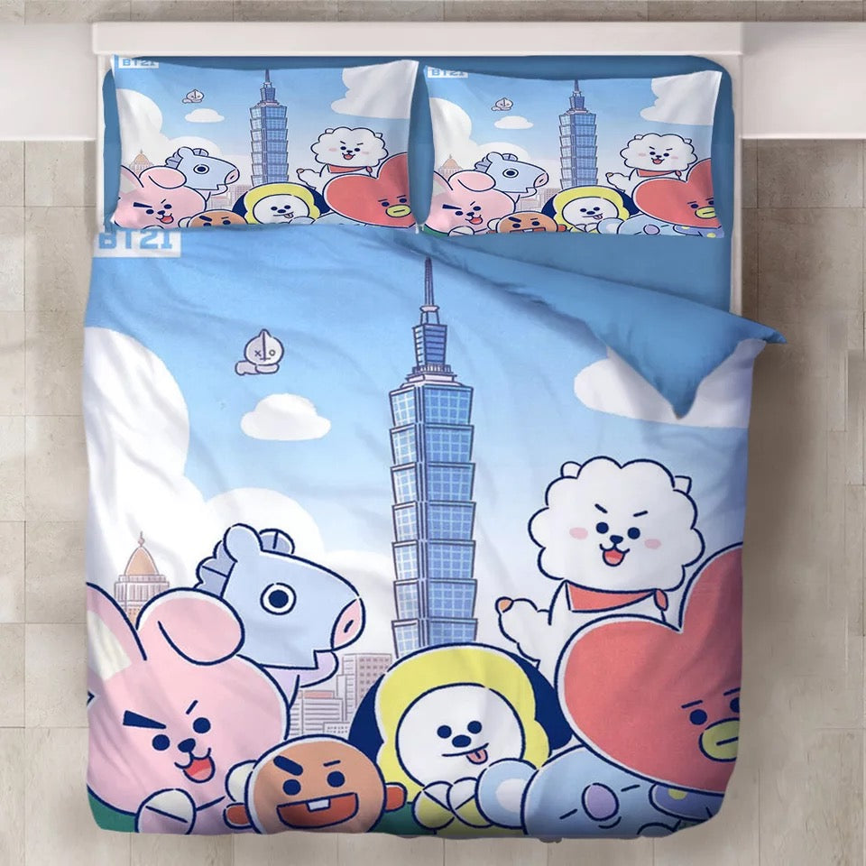 BTS BT21 TATA COOKY Bangtan Boys #5 Duvet Cover Quilt Cover Pillowcase Bedding Set Bed Linen