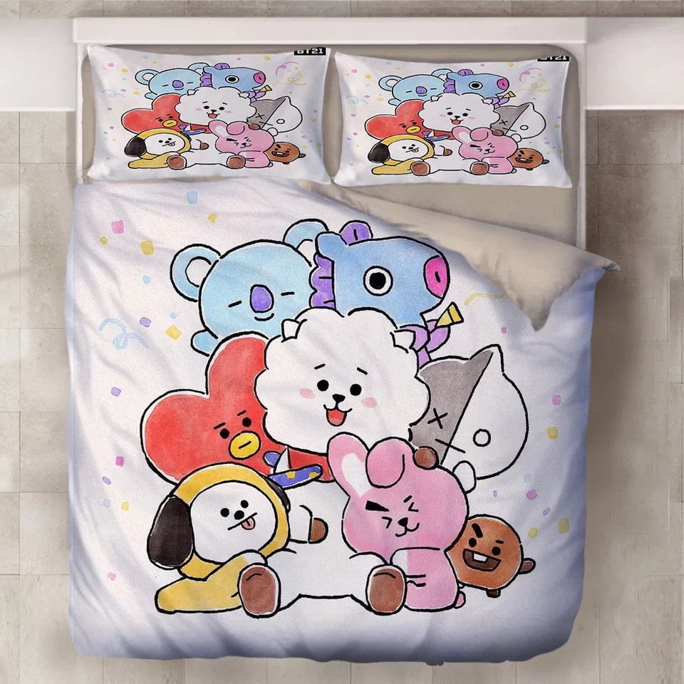 BTS BT21 TATA COOKY Bangtan Boys #6 Duvet Cover Quilt Cover Pillowcase Bedding Set Bed Linen