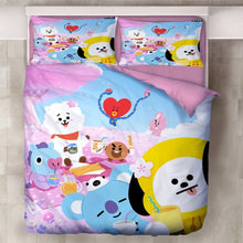 Load image into Gallery viewer, BTS BT21 TATA COOKY Bangtan Boys #9 Duvet Cover Quilt Cover Pillowcase Bedding Set Bed Linen