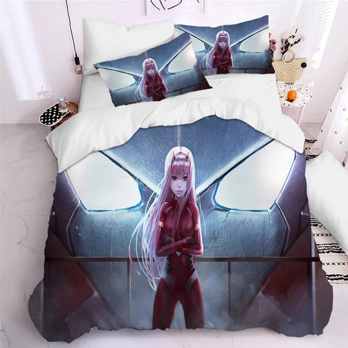 DARLING in the FRANXX HIRO ZERO TWO ICHIGO #23 Duvet Cover Quilt Cover Pillowcase Bedding Set Bed Linen Home Decor