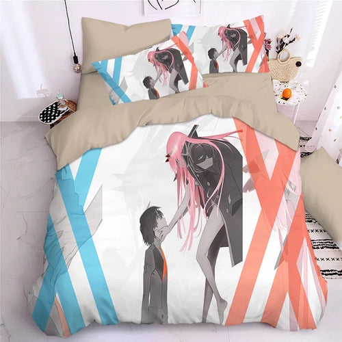 DARLING in the FRANXX HIRO ZERO TWO ICHIGO #24 Duvet Cover Quilt Cover Pillowcase Bedding Set Bed Linen Home Decor