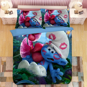 The Smurfs Clumsy Smurf Smurfette #8 Duvet Cover Quilt Cover Pillowcase Bedding Set Bed Linen Home Decor