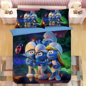 The Smurfs Clumsy Smurf Smurfette #11 Duvet Cover Quilt Cover Pillowcase Bedding Set Bed Linen Home Decor