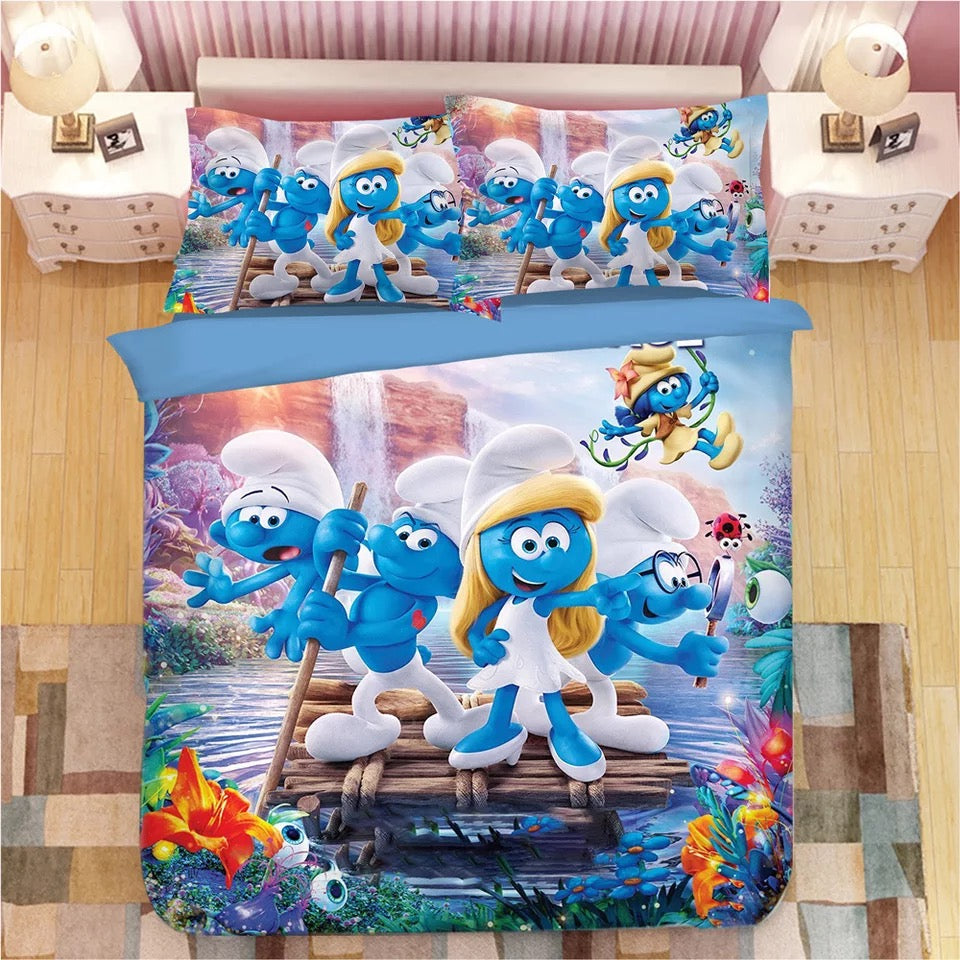 The Smurfs Clumsy Smurf Smurfette #12 Duvet Cover Quilt Cover Pillowcase Bedding Set Bed Linen Home Decor
