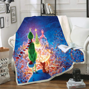How the Grinch Stole Christmas #2 Blanket Super Soft Cozy Sherpa Fleece Throw Blanket for Men Boys