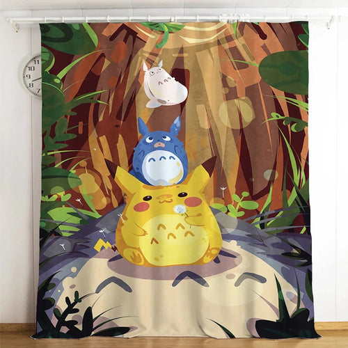 Tonari no Totoro #8 Blackout Curtains For Window Treatment Set For Living Room Bedroom