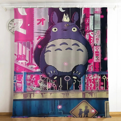 Tonari no Totoro #9 Blackout Curtains For Window Treatment Set For Living Room Bedroom