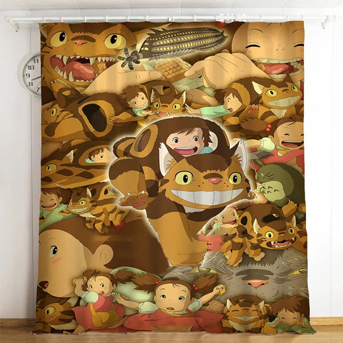 Tonari no Totoro #10 Blackout Curtains For Window Treatment Set For Living Room Bedroom