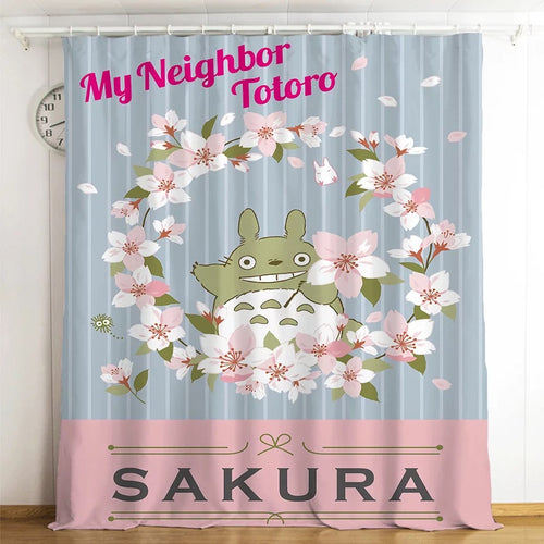 Tonari no Totoro #12 Blackout Curtains For Window Treatment Set For Living Room Bedroom