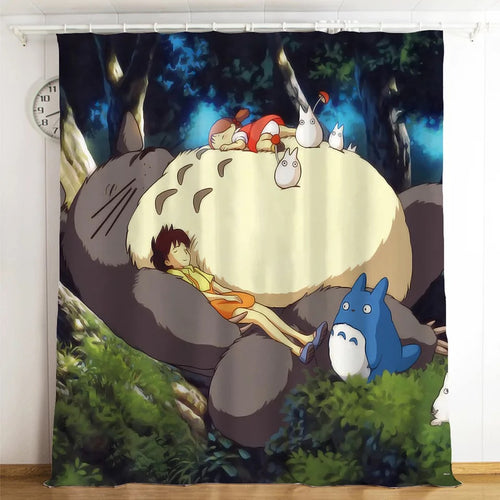 Tonari no Totoro #14 Blackout Curtains For Window Treatment Set For Living Room Bedroom
