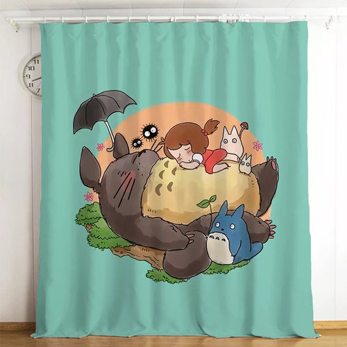 Tonari no Totoro #15 Blackout Curtains For Window Treatment Set For Living Room Bedroom
