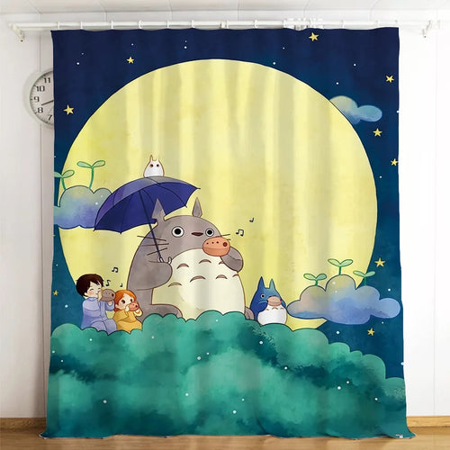 Tonari no Totoro #19 Blackout Curtains For Window Treatment Set For Living Room Bedroom