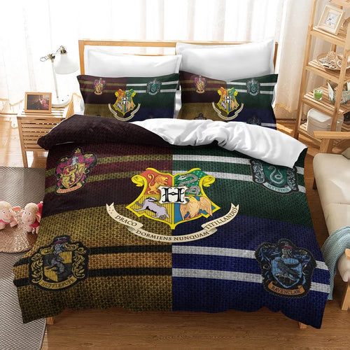 Harry Potter Hogwarts Four Houses #15 Duvet Cover Quilt Cover Pillowcase Bedding Set Bed Linen Home Decor