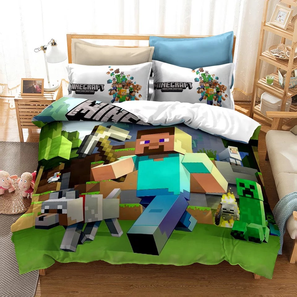 Minecraft #1 Duvet Case Pillowcase 3pcs Bedding Set Fabric 90g