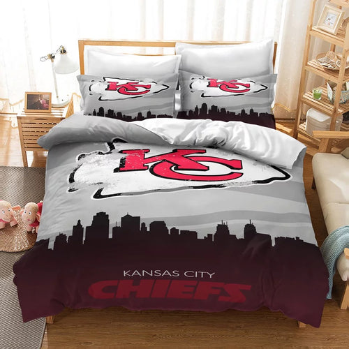 Kansas City Chiefs NFL  #3 Duvet Cover Quilt Cover Pillowcase Bedding Set Bed Linen Home Bedroom Decor