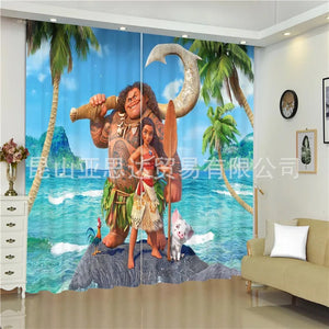 Moana #3 Blackout Curtains For Window Treatment Set For Living Room Bedroom