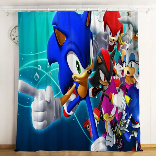 Sonic The Hedgehog #4 Blackout Curtains For Window Treatment Set For Living Room Bedroom