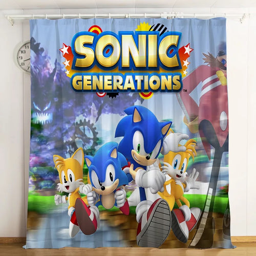 Sonic The Hedgehog #15 Blackout Curtains For Window Treatment Set For Living Room Bedroom