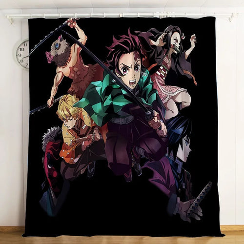 Demon Slayer Kimetsu no Yaiba #2 Blackout Curtains For Window Treatment Set For Living Room Bedroom
